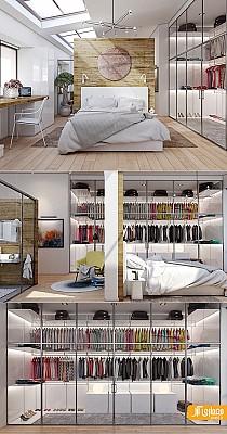 طراحی و دکوراسیون داخلی اتاق خواب همراه با کمد لباس، بررسی 20 نمونه