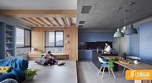 طراحی داخلی خلاقانه خانه با رنگ های آبی و طوسی