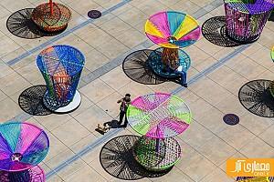 فرفره های رنگی نمادی از هنر سنتی مکزیک در طراحی شهری