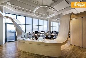طراحی داخلی دفتر کار با مبلمان به هم پیوسته