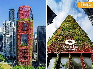 هتلی منحصر به فرد، پوشیده از گیاهان رونده در سنگاپور