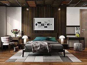 25 نمونه تزیین دیوار اتاق خواب با تیغه های چوبی