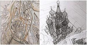 اسکیس های زیبا معماری با دست آزاد