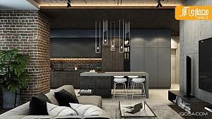 طراحی داخلی خانه مدرن با تاکید بر دیوار آجری