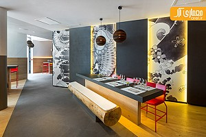 دکوراسیون داخلی رستوران ژاپنی با الهام از طرح های یاکوزا