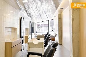 طراحی داخلی آرایشگاه، با سقف شیب دار