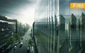 معماری مجتمع اداری بیمه، با نمای شیشه ای