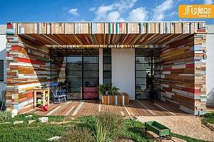 خلاقیت در طراحی دیوار منزل با قطعه های چوب
