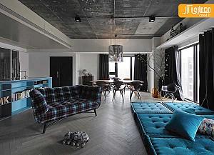 معماری داخلی منزل با تلفیق طراحی خشن و ظریف