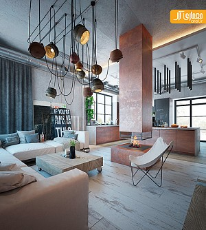 طراحی داخلی به سبک صنعتی و رنگ های گرم
