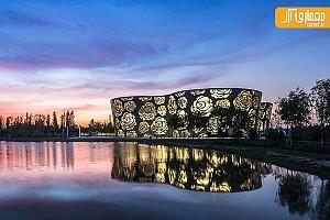 طراحی نمای موزه با الگوی گل رز