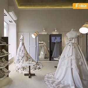 طراحی داخلی فروشگاه لباس عروس در تورین