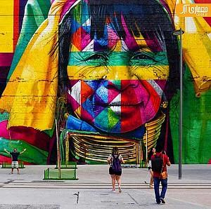 بازی های المپیک ریو 2016 بهانه ای برای هنرنمایی نقاش خیابانی