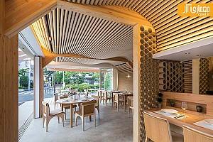 طراحی داخلی رستوران با سیلندر های مقوایی