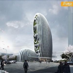 طراحی ساختمان اداری با الهام از سنگ های رودخانه ای