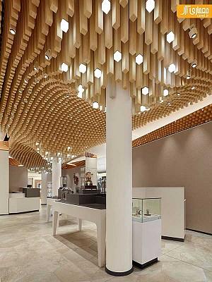 طراحی سقف یک شوروم با 4362 ماژوِل چوبی