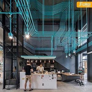 طراحی داخلی خلاقانه، با شبکه هایی از لوله های روکار