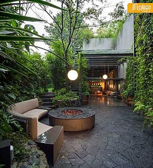 تلفیق فضای سبز حیاط با فضای داخلی خانه