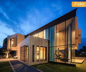 ترکیب جذاب چوب و شیشه در طراحی ویلا