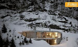 ویلای مینیمال بروتالیسم در کوهستان نروژ