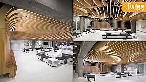 طراحی بی نظیر سقف چوبی به شکل موجدار