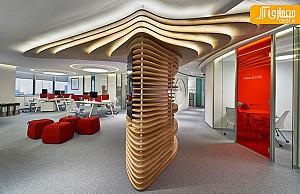 طراحی داخلی دفتر اداری با پلان مدور