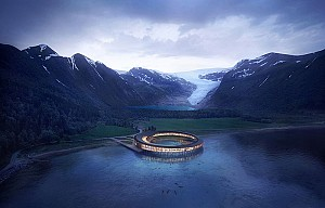 طراحی هتل پایدار درون دریاچه شمال نروژ