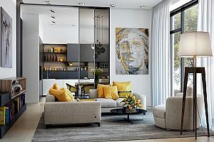 25 نمونه طراحی داخلی نشیمن به رنگ زرد