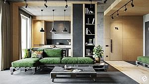 همنشینی متریال بتن و چوب در طراحی داخلی منزل