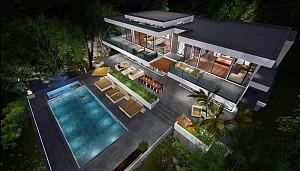 انیمیشن معماری و طراحی داخلی ویلای شیشه ای