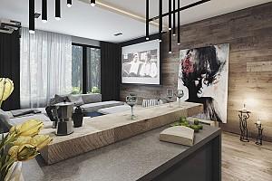 پیوند متریال بتن و چوب در دکوراسیون داخلی آپارتمان!