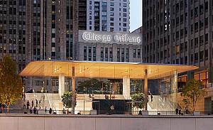 نورمن فاستر و طرح شفاف فروشگاه اپل در شیکاگو