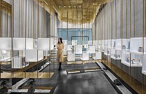 طراحی داخلی جواهرفروشی آسمان طلایی در 32 متر