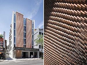 طراحی نمای آجری هتل هیو در تایوان