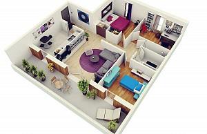 48 پلان سه بعدی آپارتمان های سه خوابه