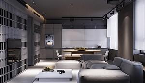 4 آپارتمانی که در طراحی آن سایه خاکستری به طور کاملاً صحیح اجرا شده است