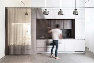 طراحی داخلی آپارتمان 30 متر مربعی با فضای نیمه شفاف