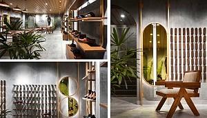 به کارگیری خلاقانه قفسه و آینه در طراحی فروشگاه کفش