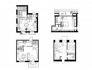 پلان آپارتمان ها کوچک با متراژی بین 20 تا50 مترمربع