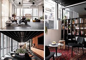 معماری داخلی دفترکار اوبر در استرالیا با کنتراست سیاه و سفید