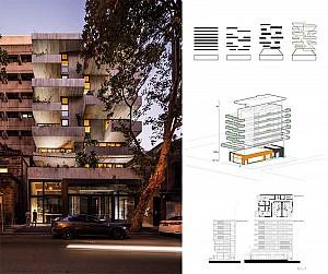 طراحی آپارتمان مسکونی 22 واحده با تراس های گسترده
