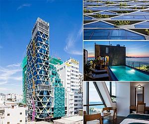 طراحی هتل با ویژگی های پایدار و نمای شیشه ای رنگی