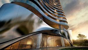 طراحی برج مسکونی لاکچری با نمای منحنی