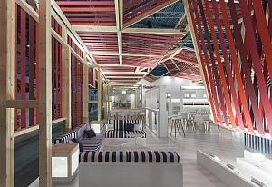 طراحی خلاقانه و تعاملی غرفه نمایشگاهی شرکت تولید پارچه