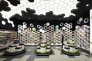 طراحی داخلی سوپرمارکت با ایده های نو