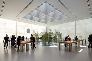 طراحی فروشگاه جدید اپل با سنگ و شیشه و بامبو