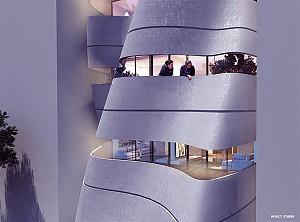 طراحی نمای مجتمع مسکونی به شیوه منحنی