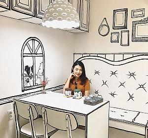 لذت تجربه ی دنیای فانتزی در طراحی داخلی یک کافه کوچک