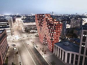 طراحی مجتمع مسکونی با حجم مدولار و نمای سرامیک قرمز