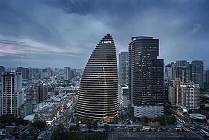 مرکز تجاری جهانی تایوان و کانسپت گیاه بامبو
